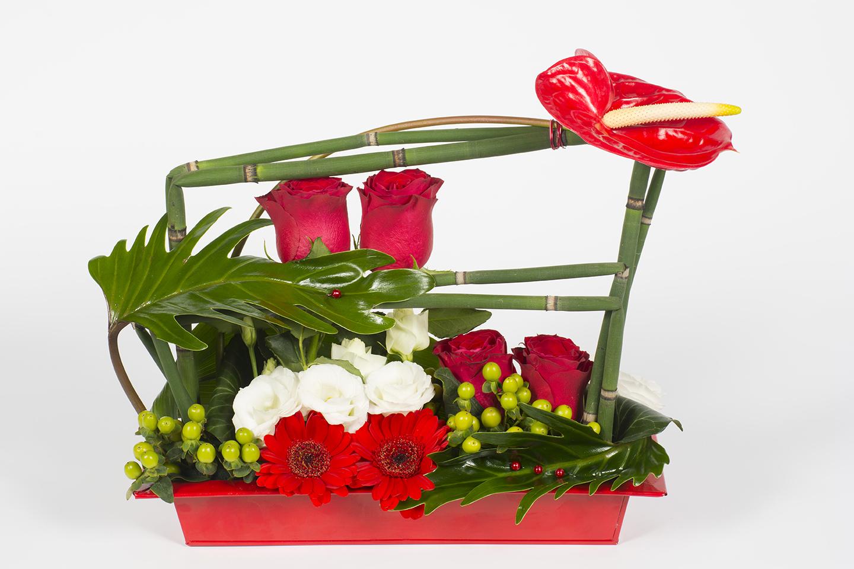 composition florale horizontale rouge erable livraison fleurs le mans. Black Bedroom Furniture Sets. Home Design Ideas