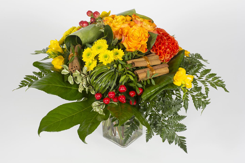 Bouquet rond jaune et orange cl mentine livraison for Bouquet de fleurs orange et jaune