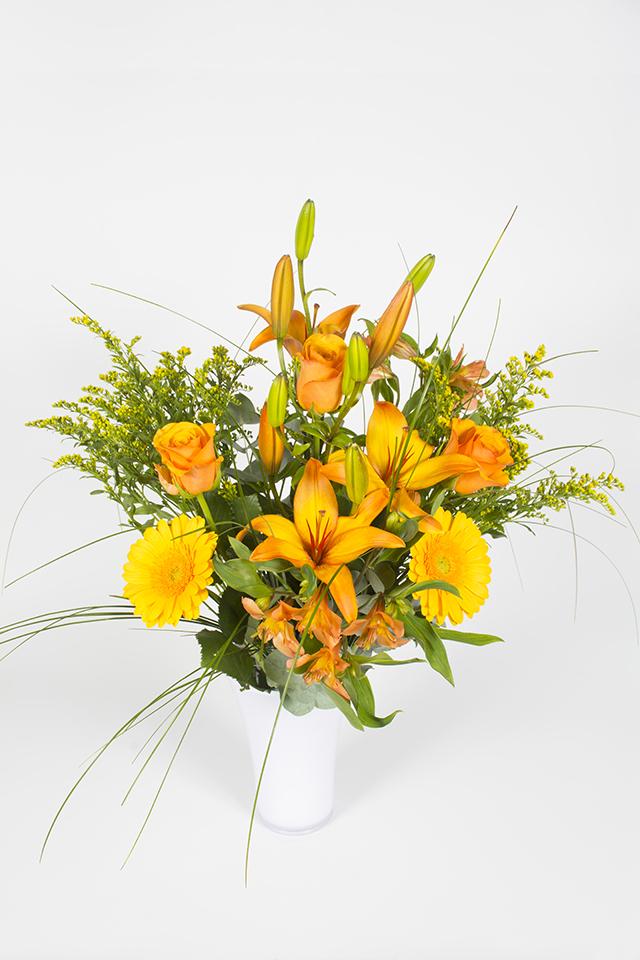 Bouquet hauteur jaune et orange pamplemousse livraison for Bouquet de fleurs orange et jaune