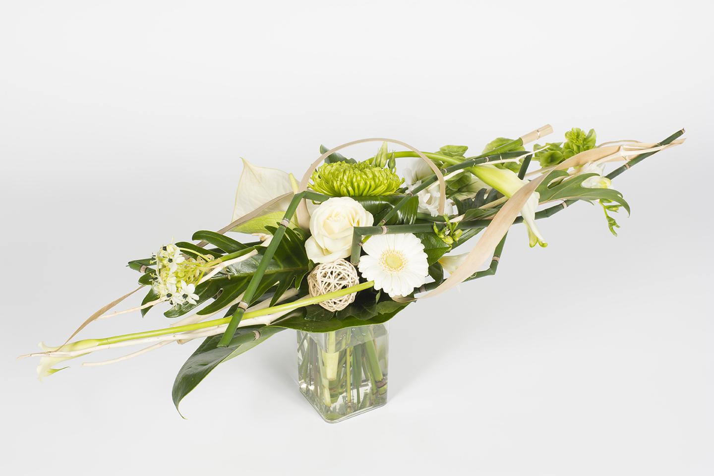 Bouquet horizontal vert et blanc rivi re livraison for Bouquet de fleurs vert et blanc