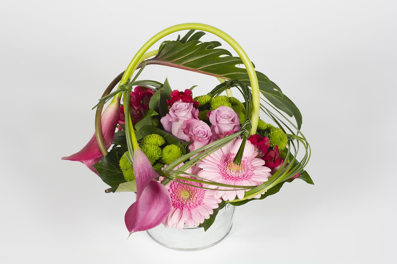 Composition florale ronde rose zig zag livraison for Composition florale