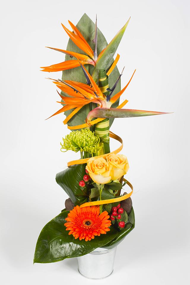composition florale hauteur orangé – papaye - livraison fleurs le mans